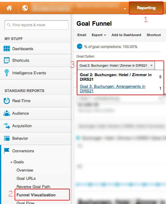 Buchungs-Ziel in Google Analytics auswerten
