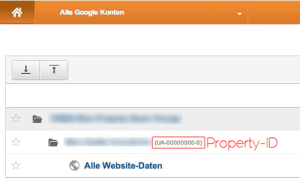 Google Analytics Poperty ID finden